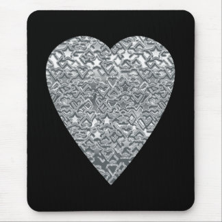 Heart. Printed Light Gray and Mid Gray Pattern. Mouse Mat