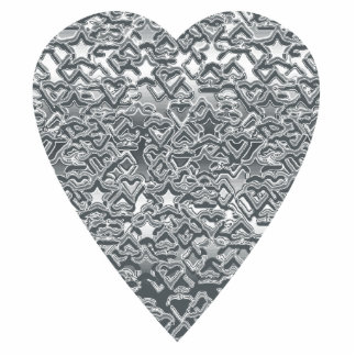 Heart. Printed Light Gray and Mid Gray Pattern. Photo Sculpture Badge