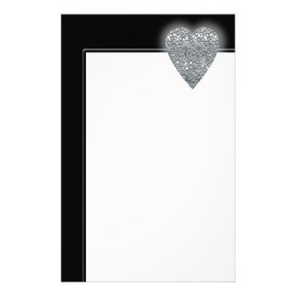 Heart. Printed Light Gray and Mid Gray Pattern. Stationery