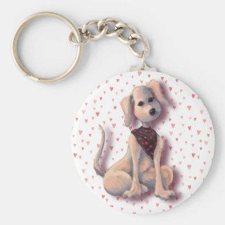 HEART & PUPPY by SHARON SHARPE Basic Round Button Key Ring