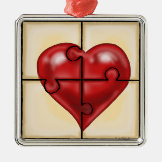 Heart Puzzle Silver-Colored Square Decoration