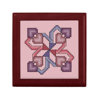 Heart Quilt Square Cross Stitch Gift Box
