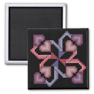 Heart Quilt Square Cross Stitch Magnet
