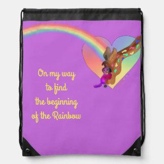 Heart Rainbow & Lila by The Happy Juul Company Drawstring Bag