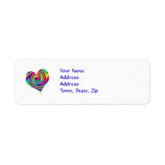 Heart Rainbow Twirl Return Address Label
