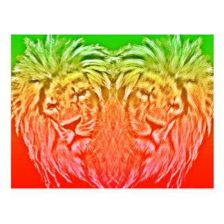 HEART RASTA LION POSTCARD