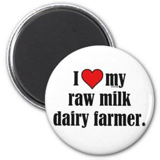 Heart Raw Milk Farmer 6 Cm Round Magnet