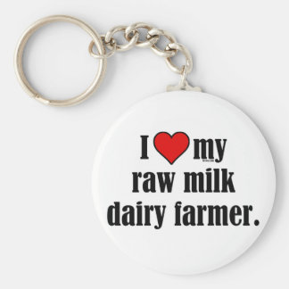 Heart Raw Milk Farmer Basic Round Button Key Ring