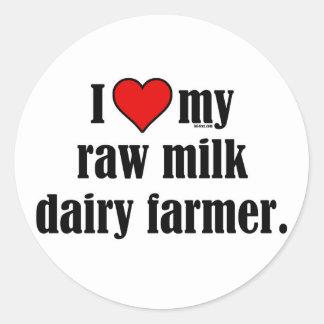 Heart Raw Milk Farmer Round Sticker