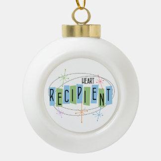 Heart Recipient Retro Style Ceramic Ball Christmas Ornament