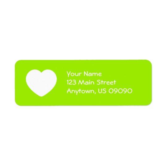Heart Return Address Label (Lime Green)