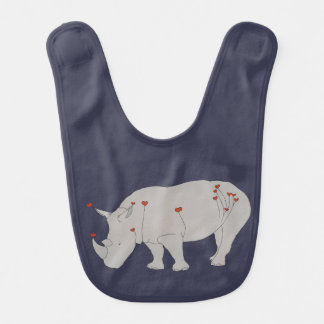 Heart Rhino Baby Bib
