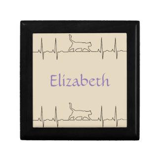 Heart rhythm EKG  cute cat Gift Box
