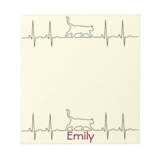 Heart rhythm EKG  cute cat Notepad