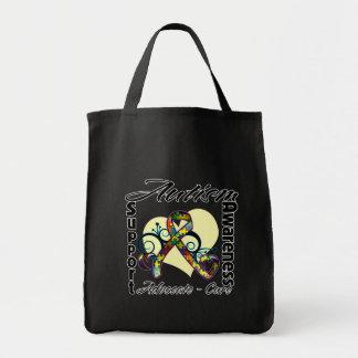 Heart Ribbon - Autism Awareness Grocery Tote Bag
