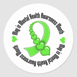 Heart Ribbon May is Mental Health Awareness Month Round Sticker