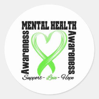 Heart Ribbon - Mental Health Awareness Stickers