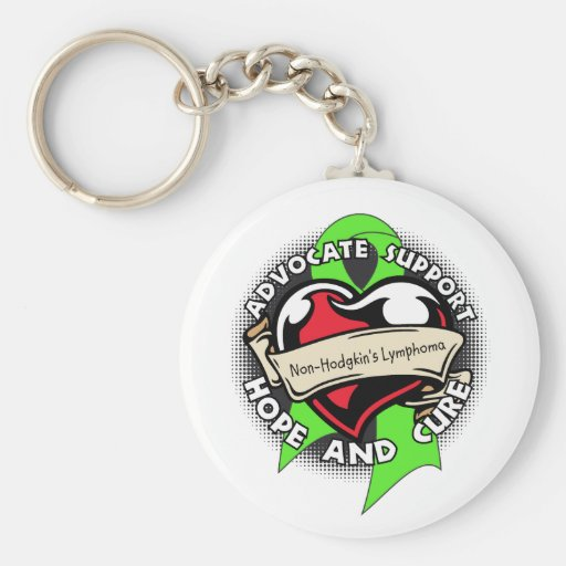 Heart Ribbon - Non-Hodgkins Lymphoma Key Chains