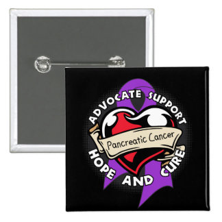 Heart Ribbon - Pancreatic Cancer 15 Cm Square Badge