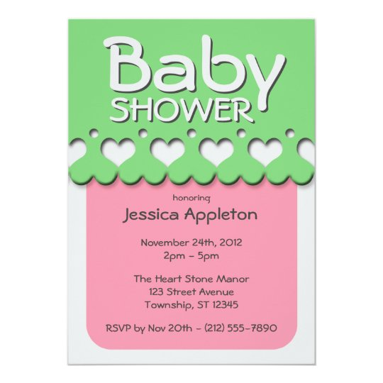 Heart Ribbon Pattern Pink & Green Baby Shower Card