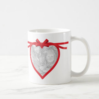 Heart Ribbon Photo Frame Coffee Mug