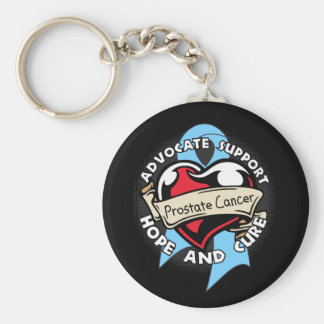 Heart Ribbon - Prostate Cancer Keychain