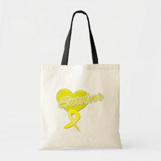 Heart Ribbon - Sarcoma Survivor Canvas Bag