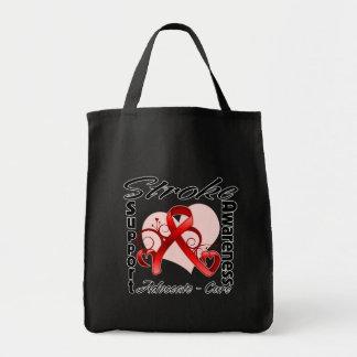 Heart Ribbon - Stroke Awareness Grocery Tote Bag