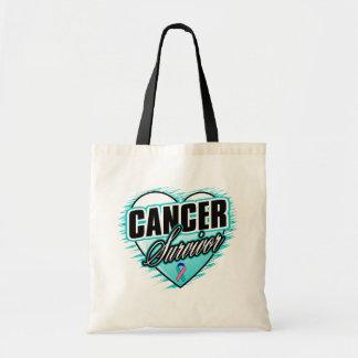 Heart Ribbon Survivor Thyroid Cancer Budget Tote Bag