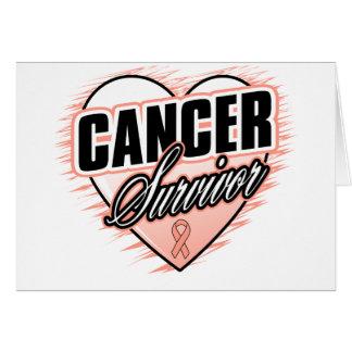 Heart Ribbon Survivor Uterine Cancer Greeting Card