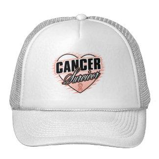 Heart Ribbon Survivor Uterine Cancer Mesh Hats