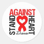 Heart Ribbon v2 - Stand Against Heart Disease Round Sticker