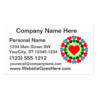 heart rings red green blue business cards