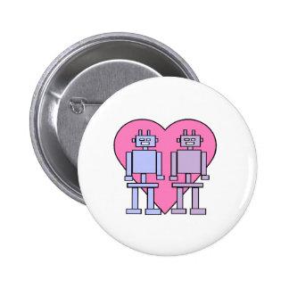 Heart Robots 6 Cm Round Badge