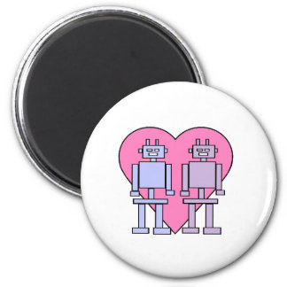 Heart Robots 6 Cm Round Magnet