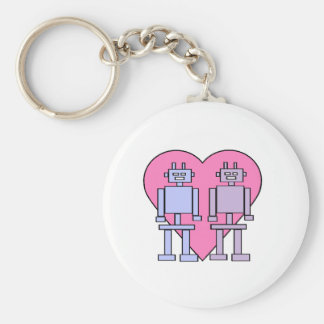 Heart Robots Basic Round Button Key Ring