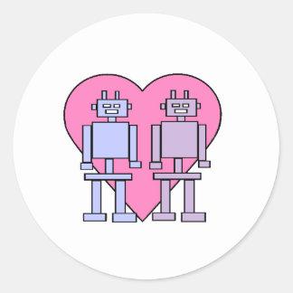 Heart Robots Classic Round Sticker