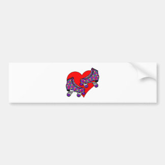 Heart Rollerskates Bumper Sticker