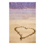 Heart Sand Beach Ocean Romantic Valentine - Custom Stationery Design