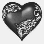 Heart Scroll Black Sticker