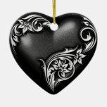 Heart Scroll Black White Ceramic Heart Decoration