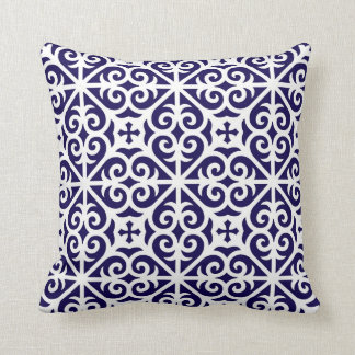 Heart Scroll Cross Pattern in Cobalt and White Cushion