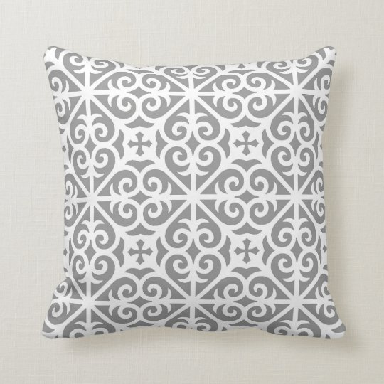 Heart Scroll Cross Pattern in Grey and White