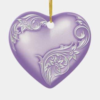 Heart Scroll Lilac w White Christmas Ornament