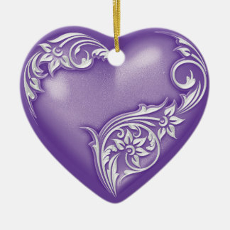Heart Scroll Purple w White Christmas Ornament