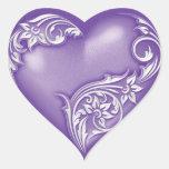 Heart Scroll Purple w White Heart Sticker