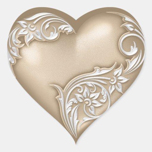 Heart Scroll Tan w White Heart Sticker