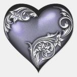 Heart Scroll Violet Heart Stickers