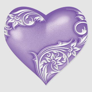 Heart Scroll Wisteria w White Heart Sticker