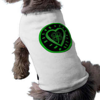 Heart & Shamrock for your Pets - St Patrick's Day Sleeveless Dog Shirt